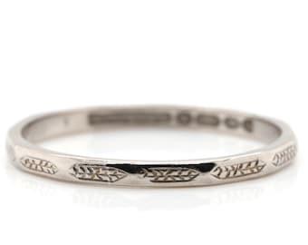 VINTAGE white gold Wedding Ring - 18ct - 1956