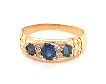 VINTAGE RING C1970 with Sapphires and Diamonds set in 18ct yellow Gold