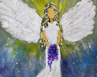 The Angel of Help Original Stretched Canvas Acrylic Painting Fine Art