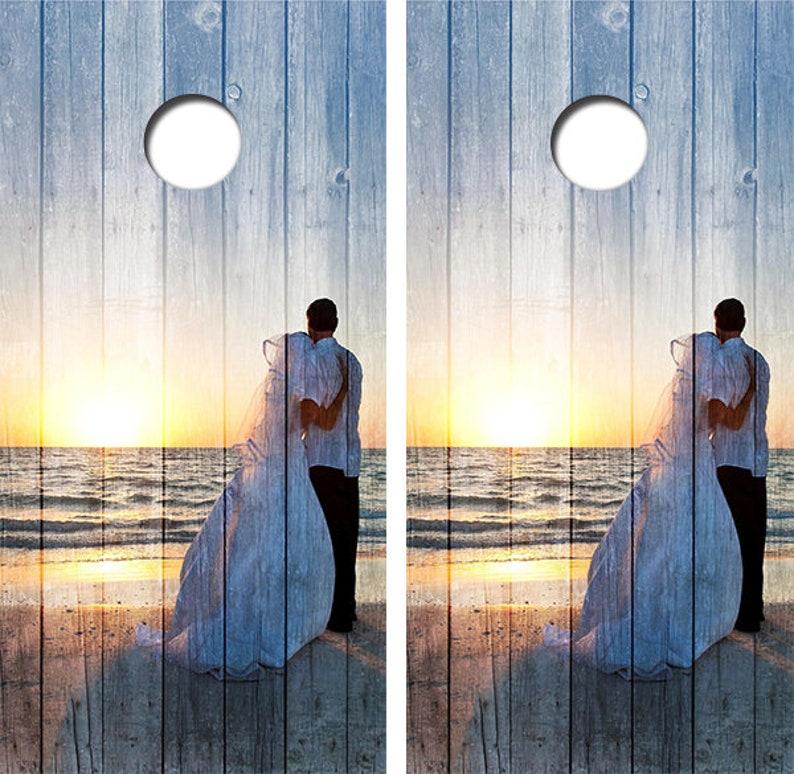 Wedding Cornhole Skin Wrap Decal With Laminate