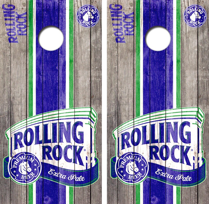Rolling Rock Beer Cornhole Skin Wrap Decal With Laminate