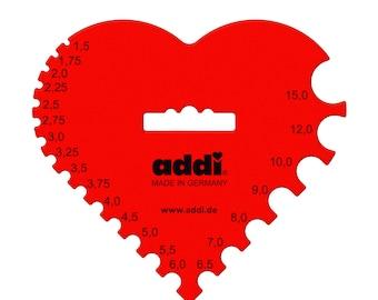 Addi 4097 Needle dimension, plastic, red heart, 1.5 - 15 mm diameter