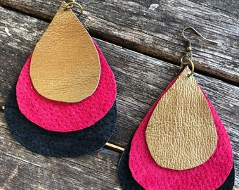 Triple Layer Leather Raindrop Earrings