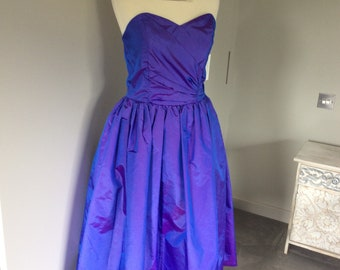 Vintage 90s violet strapless gown by Debenhams UK 10/12