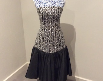 Vintage 1980's sequinned bodice black midi dress UK size 10