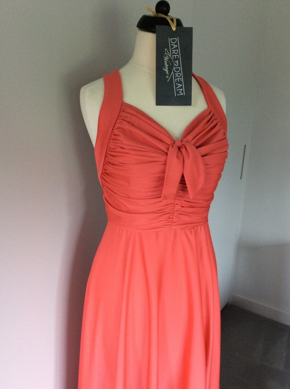 Vintage 1990s coral maxi dress UK size 6