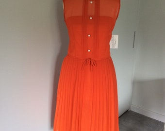 Vintage 1970s orange dress by 'Mademoiselle', UK size 12