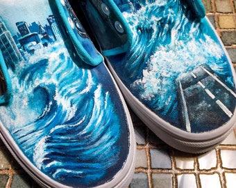 Ocean Wave Custom Painted Sneakers