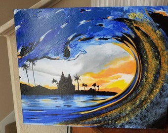 20x16 Surf Painting. Acrylic on canvas board.