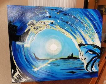 Sunrise/Sunset Surf Painting - 20x16 Acrylic on Canvas Board