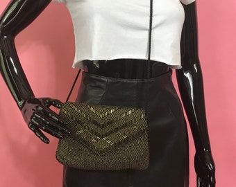80s black evening clutch with gold bead accent