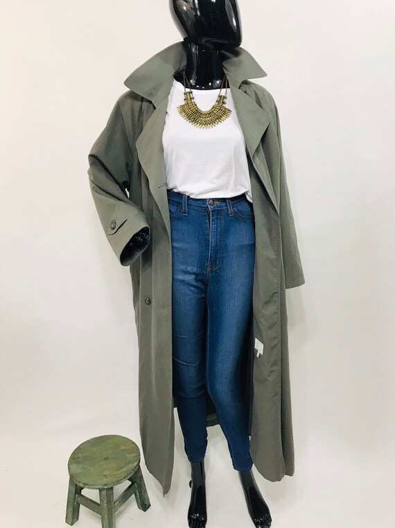 Olive Green London Fog Belted Trench Jacket / Vint