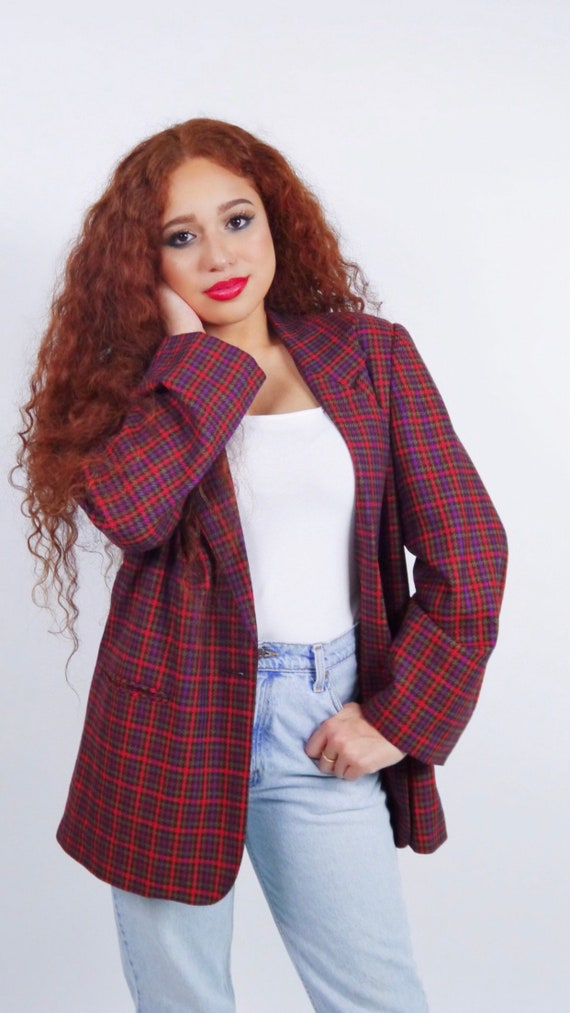 Oversized purple plaid blazer/ boyfriend blazer/ s