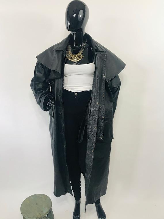 Black Leather Trench Coat w/ Hood / Long Black Lea
