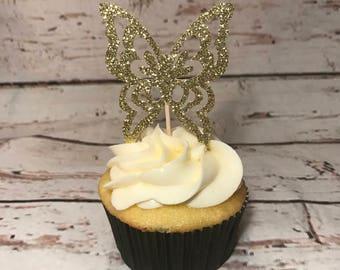 Gold Glitter Butterfly Cupcake Topper