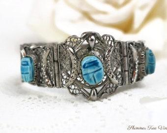 RARE Art Deco Era Copper CLAMPER BRACELET Organic Scarab Lady Bug Leaves Bracelet