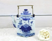 Ceramic Asian Blue and White Hexagon hot water teapot with brass handle, Geometric blue flower teapot