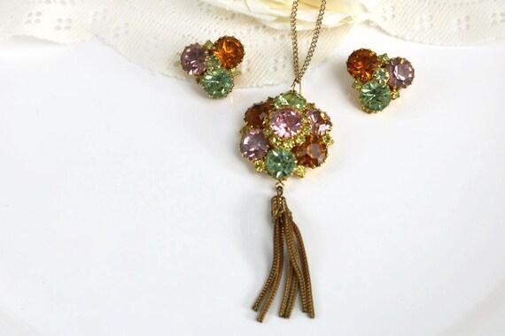 Beautiful Rivoli Rhinestone Tassel pendant necklac