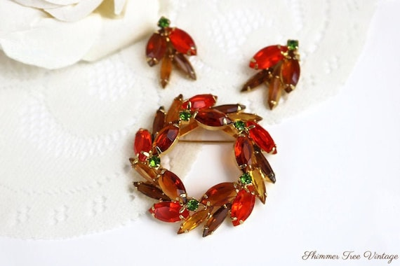 Juliana D&E Orange Wreath Brooch and Clip on Earri