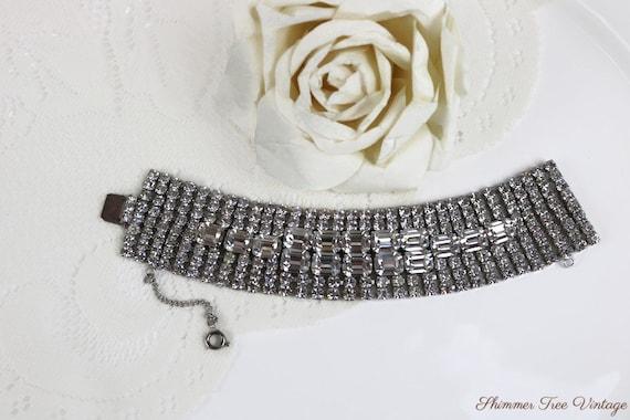 Mid Century Glamorous Rhinestone Cuff Bracelet