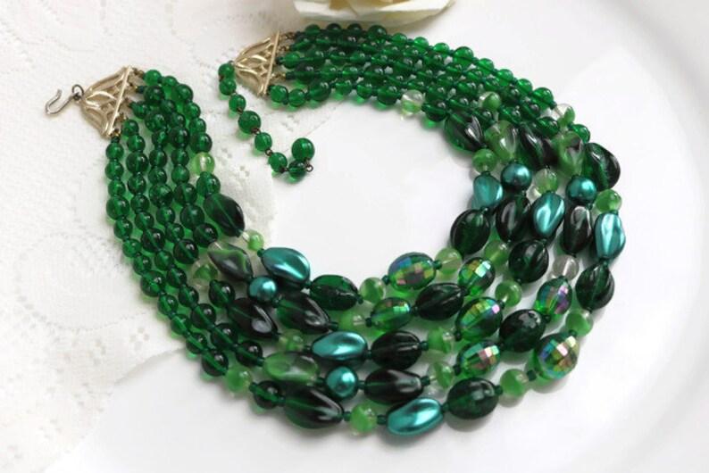 5 strand dark green necklace Stunning Green Art Deco Venetian glass Multi strand Statement necklace