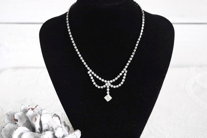Crystal Necklace Art Deco Glam clear crystal rhinestone necklace with dainty crystal drop pendulum pendant.