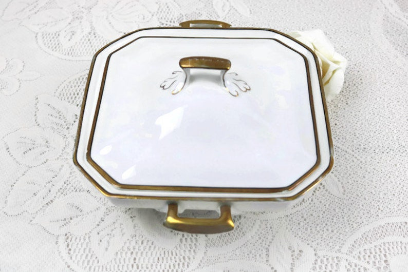 Antique J/&G Meakin Square server with lid Art deco covered serving dish White dish with gold gilt trim and edging details
