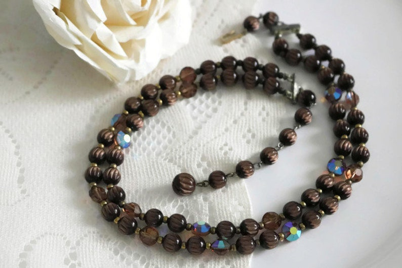 Mid century multi strand Brown Lucite Necklace faux tigers eye and Blue Aurora borealis beaded necklace