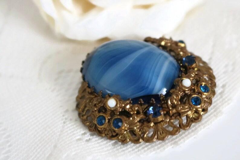 Blue Victorian Renaissance brooch statement brooch Ladies vintage brooch large marbel blue cabochon filigree rhinestone brooch