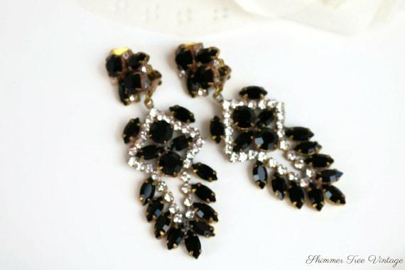 Black and Clear Rhinestone Dangle Clip on Earrings