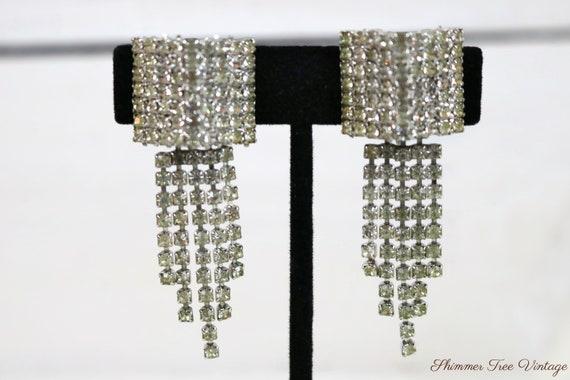 Rhinestone Tassel Clip on Earrings