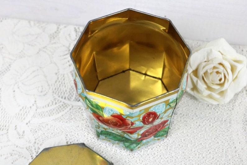 Shabby vintage home decor Rustic antique Red Rose Tin with Lid