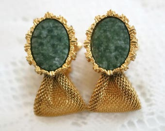 Vintage Dante Over the Cuff Emerald green Oval stone Cuff links, Mens Gold mesh wrap around Cuff links, Suit and tie accessories,formal wear