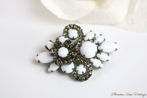 1950s Continental white milk glass set earrings and brooch parure clear rhinestones screw back signed