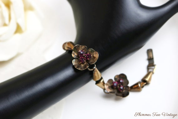 Rose and Green Gold Filled Flower Link Bracelet with Amethyst Glass Stone Vintage Yellow