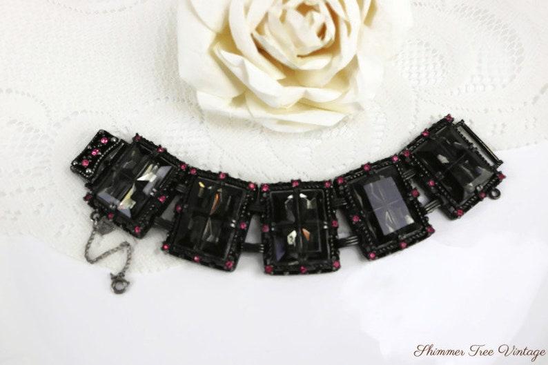 SARAH COVENTRY Black and Pink Midnight Magic Rhinestone Bracelet