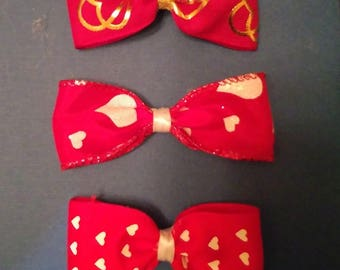 Set of three Barretes  Red and White
