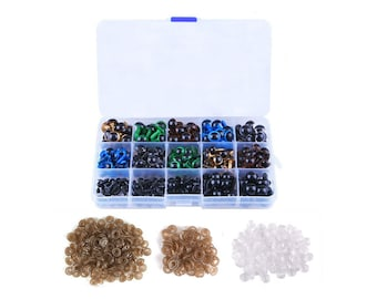 300pcs Including 150pcs Colourful Plastic Safety Eyes, 150pcs Disk for Craft Doll Making Packaged by Grid Box (6/8/9/10/12mm)