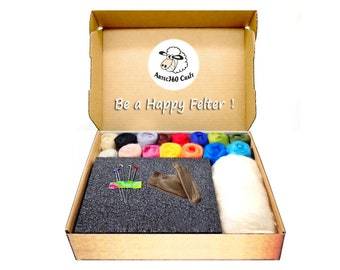 Needle Felting Kit 4.2 oz (120g) 70S Merino Wool Roving in 16 colours, 1 High Density Foam Pad, 5 Needles, 1 Pair Leather Finger Guards