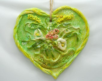 """Wall Decoration Green Heart """"For You"""" - handmade bread / salt dough"""