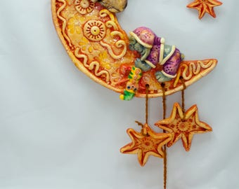 Wall Decoration Sleeping Moon Dog - handmade bread / salt dough