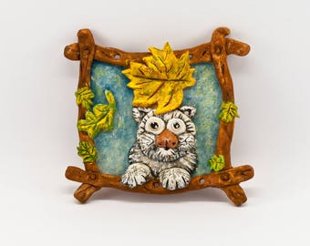 Wall Decoration Autumn Creature (most likely cat) - handmade bread / salt dough