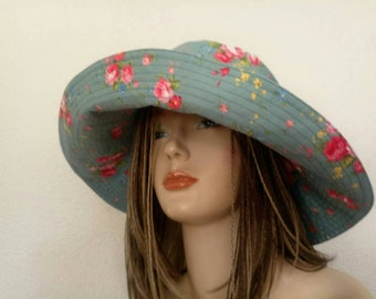 Blue sun hat,  hat from fabric with roses,  summer hat, feminine  cotton hat