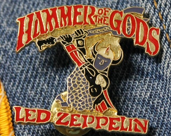 NOS vtg 80s 1988 licensed Led Zeppelin enamel pin * for shirt jacket hat