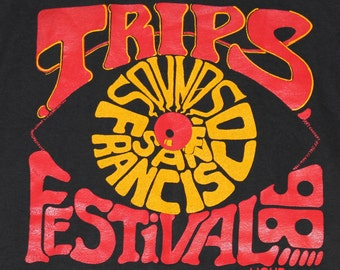 S * NOS vtg 80s 1986 Trips Festival sounds of san francisco concert t shirt * 81.131 acid lsd psychedelic tour