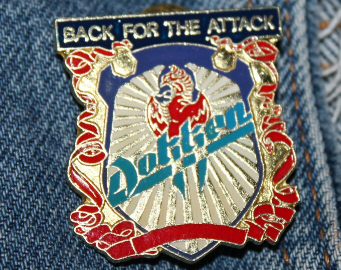 NOS vtg 80s 1988 licensed DOKKEN enamel pin * for shirt jacket hat glam metal