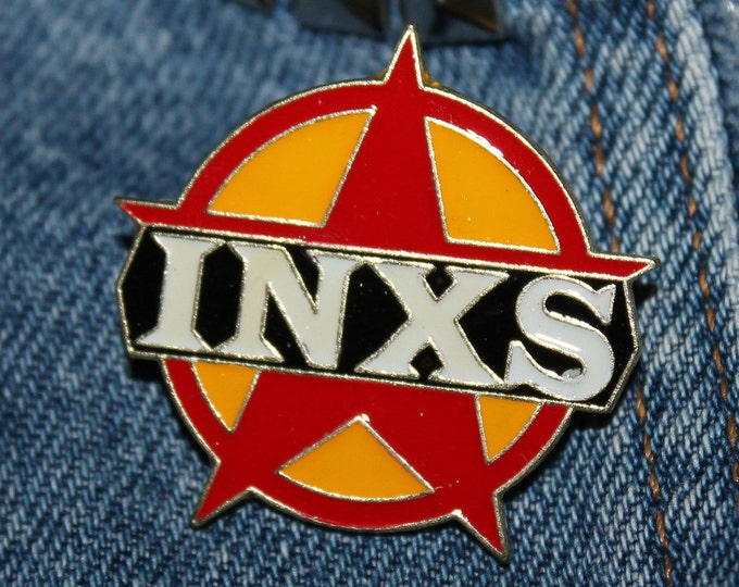 NOS vtg 80s 1988 licensed INXS enamel pin * for shirt jacket hat