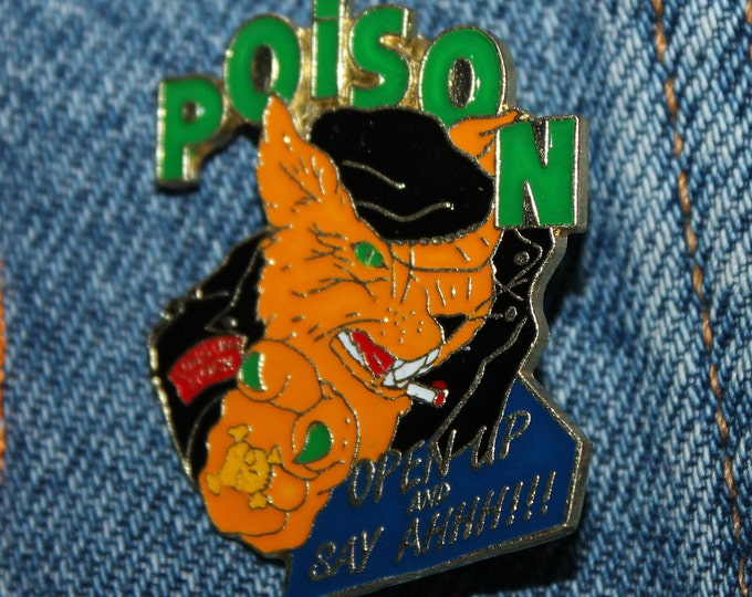 NOS vtg 80s 1988 licensed POISON enamel pin * for t shirt jacket hat glam metal open up and say ahhh