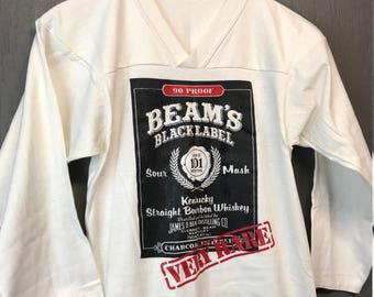 XS vintage 70s/80s Jim Beam black label Bourbon Whiskey jersey t shirt