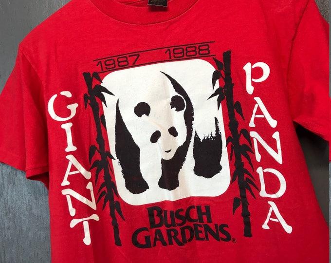 S vintage 80s 1987 1988 Giant Panda bear Busch Gardens t shirt